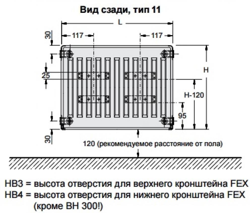 Стальной панельный радиатор Buderus Logatrend C-Profil 11/500/600