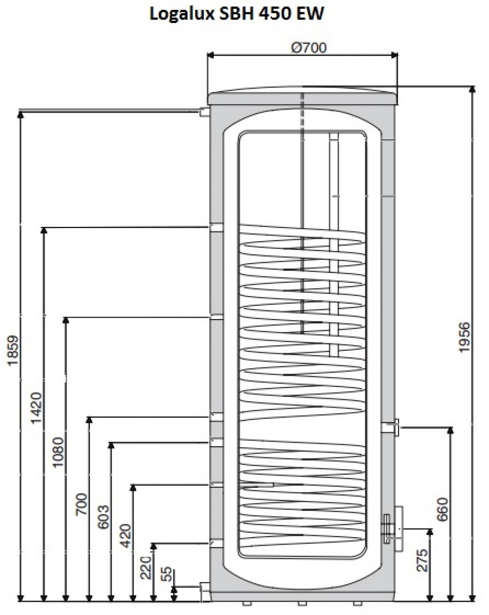 Бивалентный бак-водонагреватель Buderus Logalux SBH 450 EW