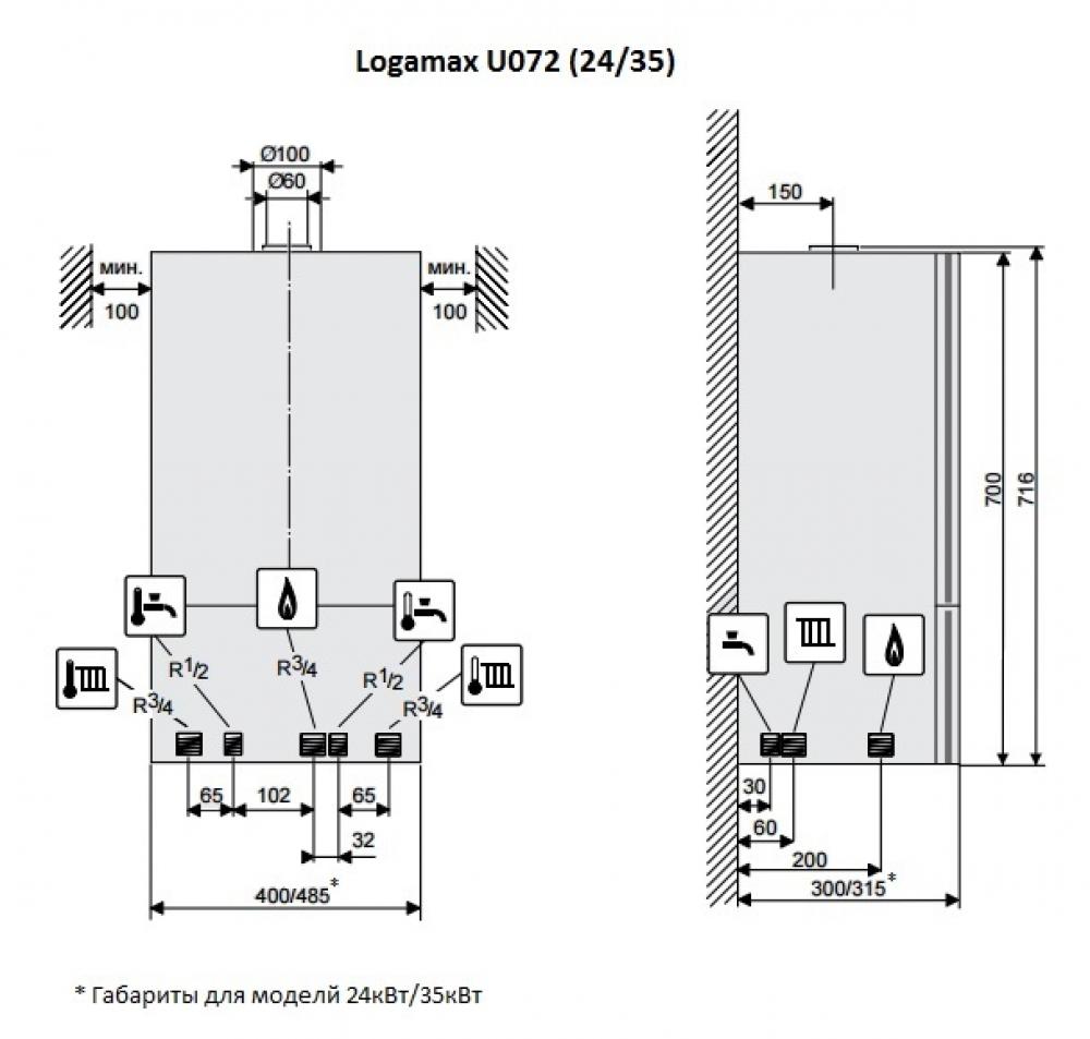 Газовый настенный котел Buderus Logamax U072-35