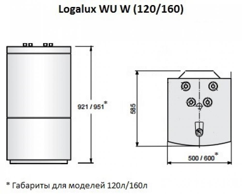 Вертикальный бак-водонагреватель Buderus Logalux WU160W