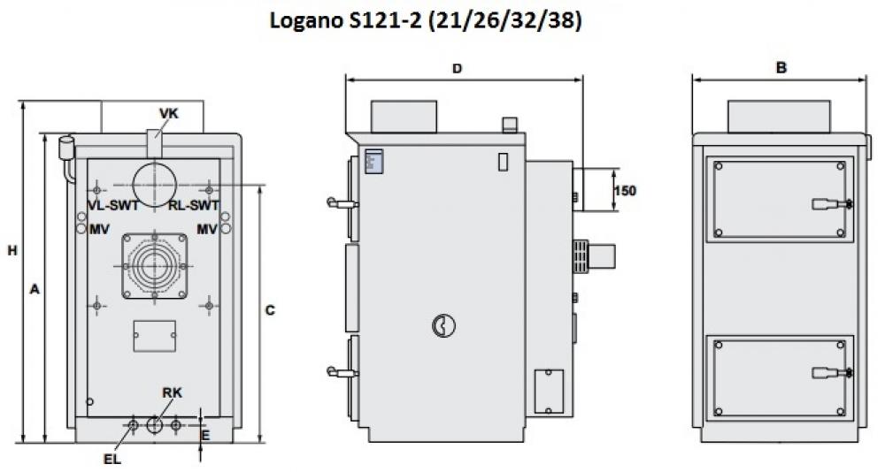 Твердотопливный газогенераторный котел Buderus Logano S121-2 26 (снимается с производства)