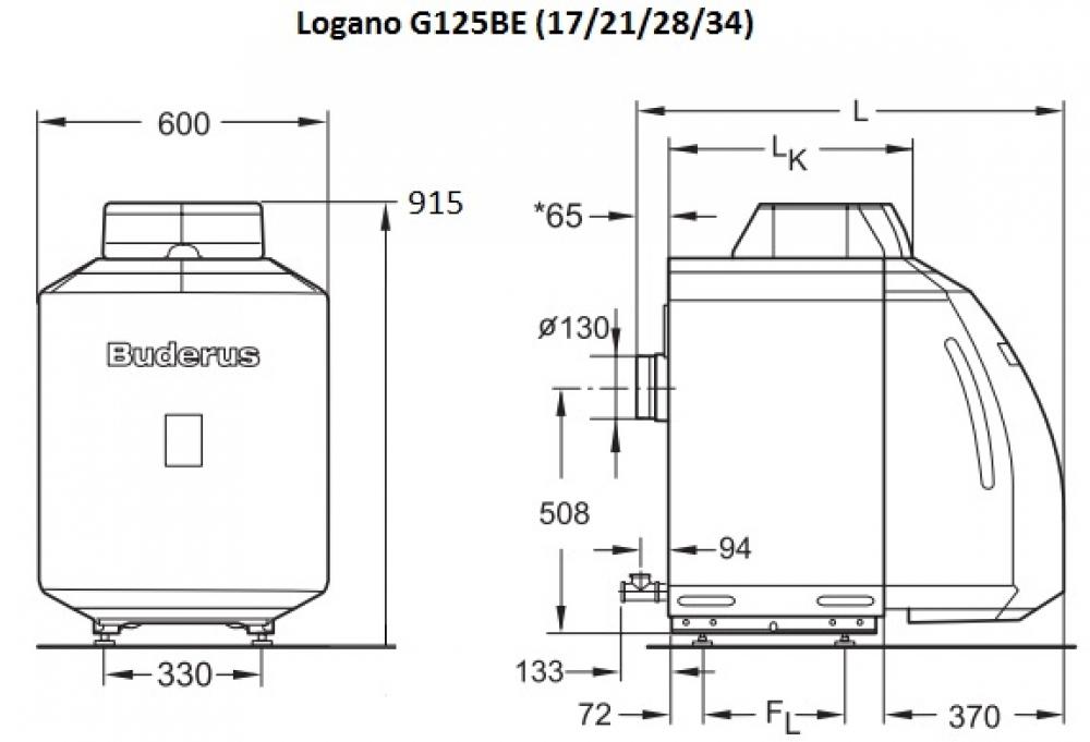 Жидкотопливный котел Buderus Logano G125-17 BE (снимается с производства)