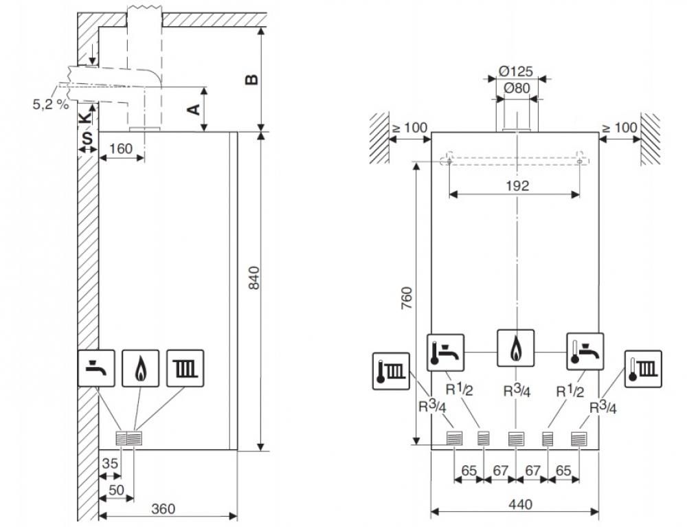 Газовый конденсационный настенный котел Buderus Logamax plus GB172i-42