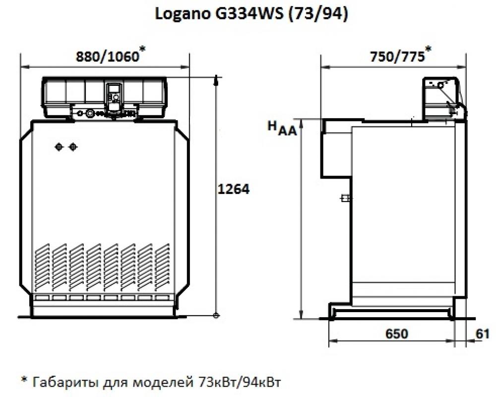 Газовый напольный котел Buderus Logano G334WS-94