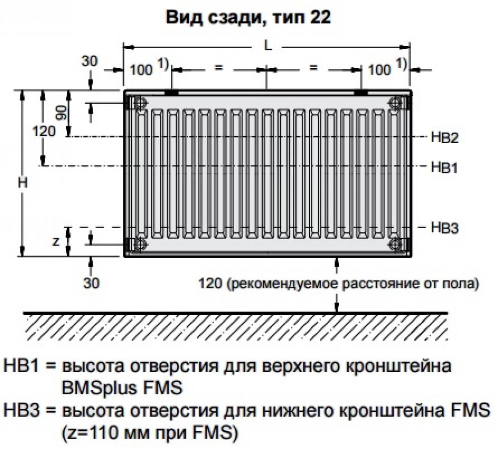 Стальной панельный радиатор Buderus Logatrend C-Profil 22/600/500