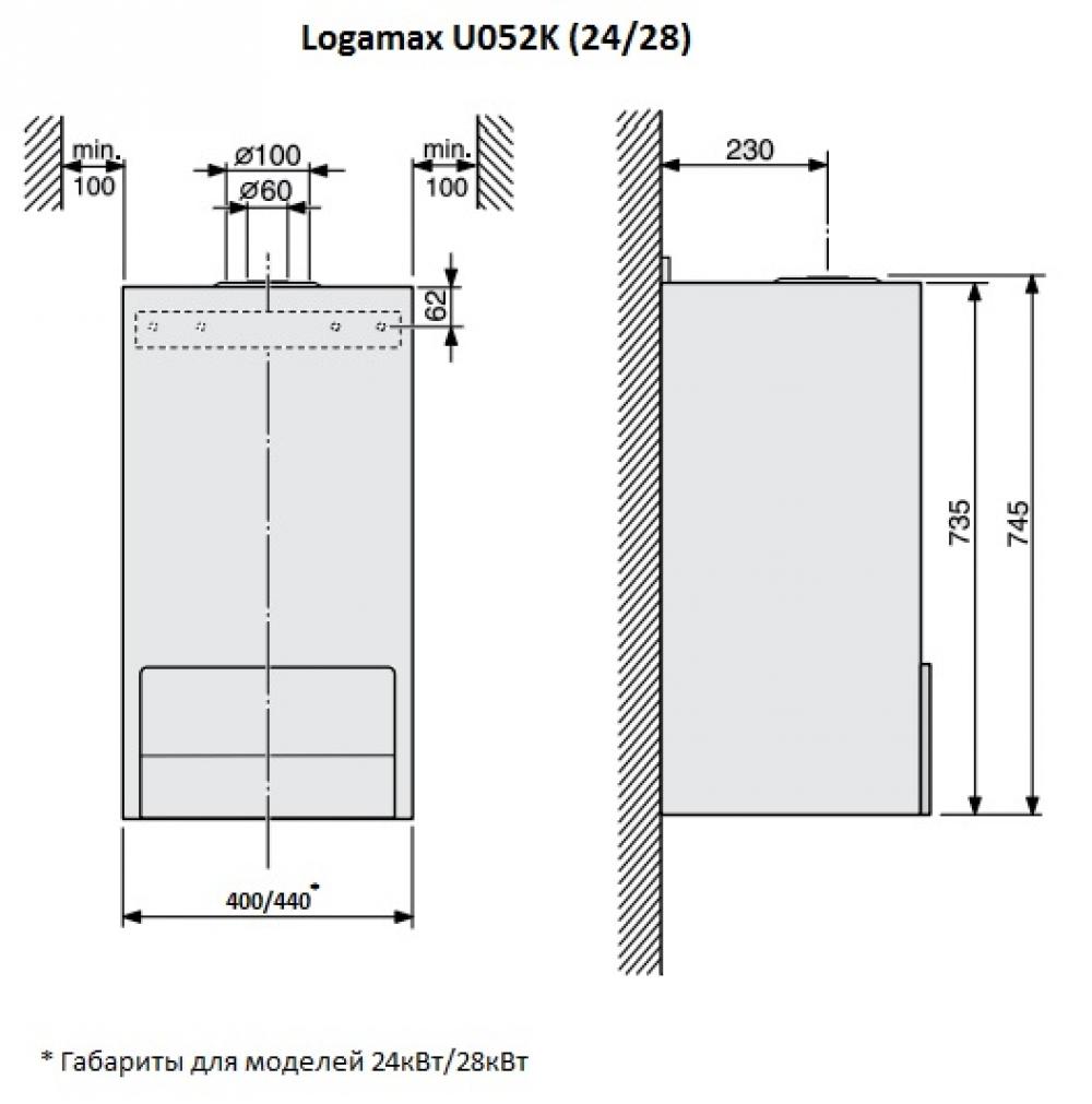 Газовый настенный котел Buderus Logamax U052-24K