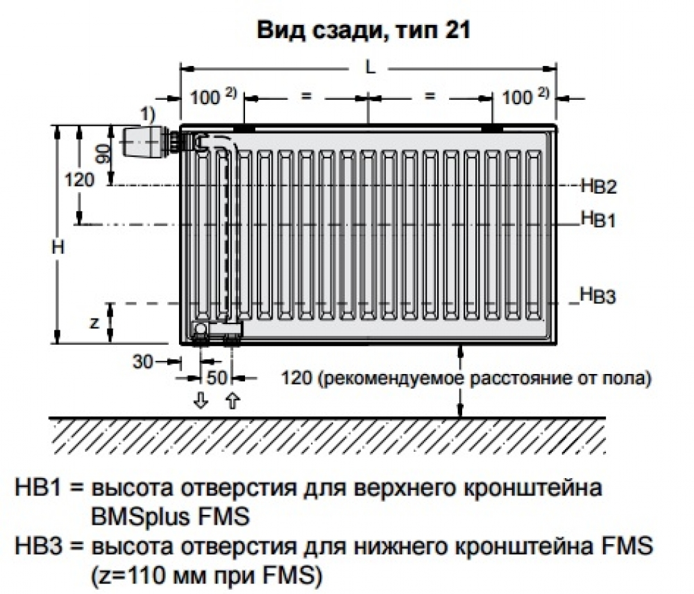 Стальной панельный радиатор Buderus Logatrend VC-Profil 21/400/400 R
