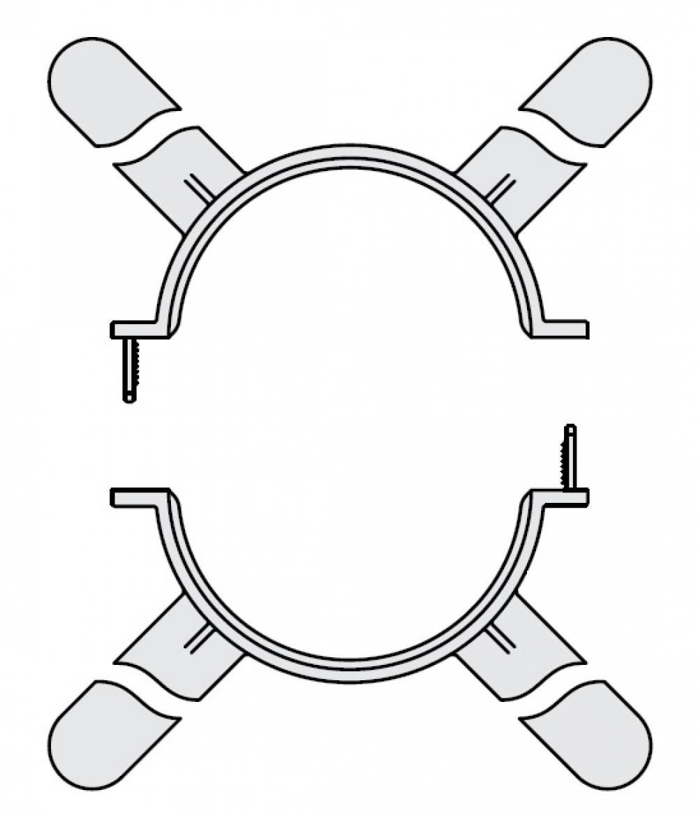 GA, GA-K, GN, держатель труб (4 шт) - DN80