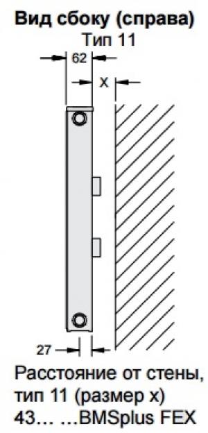 Стальной панельный радиатор Buderus Logatrend C-Profil 11/300/500