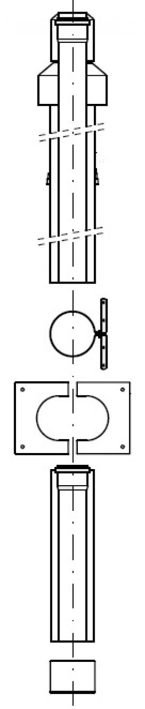 DO, комплект дымохода (черный) - DN110/160