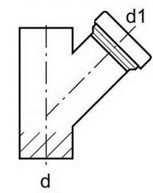DO, GA-K, GAF-K, угол 45° (ревизия) - DN110/160