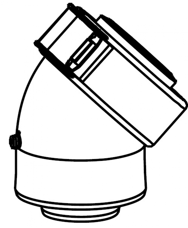Угол 43° (2 шт) - DN60/100